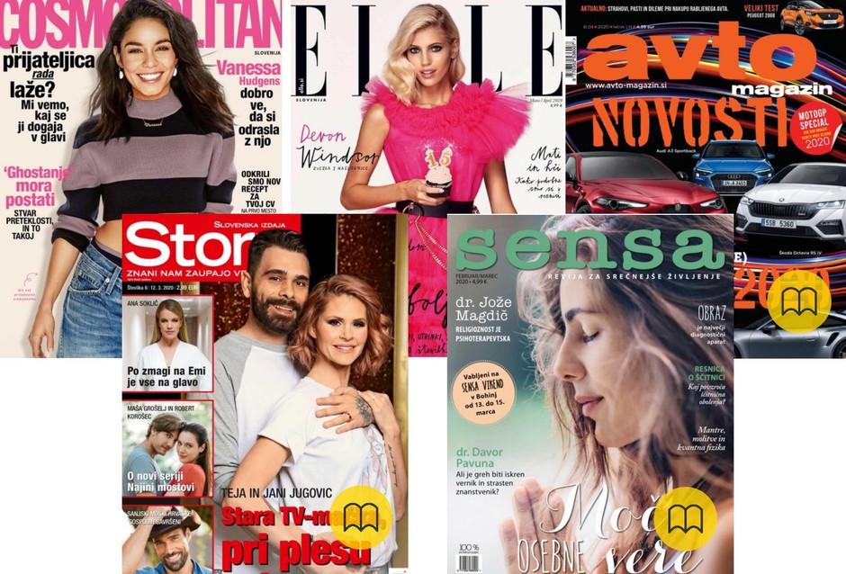 Brezplačne tudi revije! Na voljo: Elle, Cosmopolitan, Sensa, Story in Avto magazin